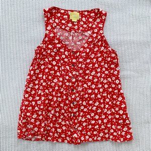 Maeve Red Floral Button Front Tank Top